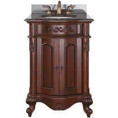 """25"""" Provence Single Vanity - Imperial Brown Granite Top"""