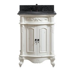 25 Inch Provence Vanity - Antique White finish with Impala Black Granite Top