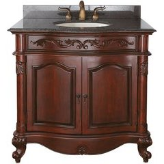 """37"""" Provence Single Vanity - Imperial Brown Granite Top"""