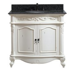 37 Inch Provence Vanity - Antique White finish with Impala Black Granite Top