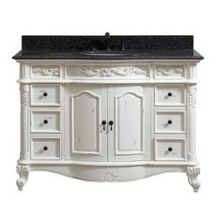 49 Inch Provence Vanity - Antique White finish with Impala Black Granite Top
