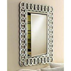Radiance 30 x 36 Rectangular Single Door Mirrored Medicine Cabinet - Circles - Contemporary