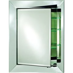 Radiance 34 x 42 Rectangular Single Door Mirrored Medicine Cabinet - Satin Gray