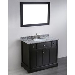 39'' SB2205 Single Vanity w/ Waves of Carrara Top-Black