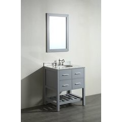 30'' SB250-1GR Single Vanity w/ White Carrara Top-Gray