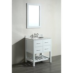 30'' SB250-1WH Single Vanity w/ White Carrara Top-White