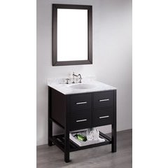 30'' SB250-1 Single Vanity w/ White Carrara Top-Black
