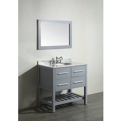 "36"" SB250-3GR Single Vanity w/ White Carrara Top-Gray"