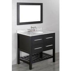 "36"" SB 250-3 Single Vanity w/ White Carrara Top-Black"