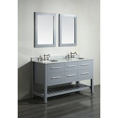 "60"" SB250-5 Double Vanity w/ White Carrara Top-Gray"