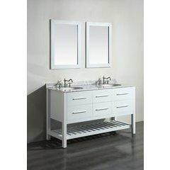 """60"""" SB250-5 Double Vanity w/ White Carrara Top-White"""