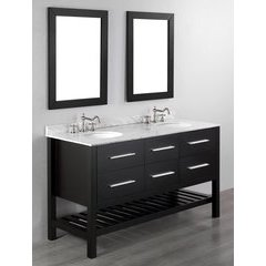 "60"" SB250-5 Double Vanity w/ White Carrara Top-Black"