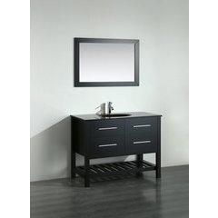 43'' SB250-6BBG Single Vanity w/ Tempered Glass Top-Black
