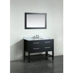 43'' SB250-6BBG Single Vanity w/ Carrara White Top-Black