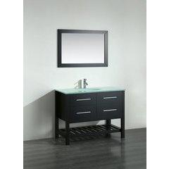 43'' SB250-6BCWG Single Vanity w/Tempered Glass Top-Black