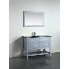43'' SB250-6GRBG Single Vanity w/ Tempered Glass Top-Gray