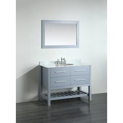 43'' SB250-6BBG Single Vanity w/ Carrara White Top-Gray