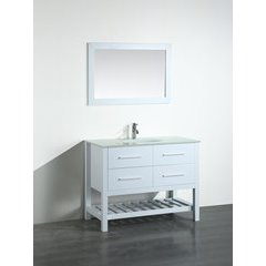 43'' SB250-6WHBG Single Vanity w/ Tempered Glass Top-White