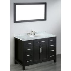 47'' SB252-3 Single Vanity w/ White Carrara Top-Black <small>(#SB-252-3)</small>