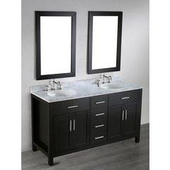 60'' SB252-4 Double Vanity w/ White Carrara Top-Black