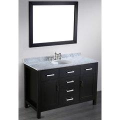 49'' SB 252-6 Single Vanity w/ White Carrara Top-Black