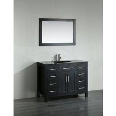 43'' SB-252-7BBG Single Vanity w/ Tempered Glass Top-Black