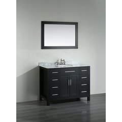 43'' SB-252-7BCM Single Vanity w/ White Carrara Top-Black