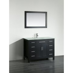 43'' SB-252-7BBG Single Vanity w/ Tempered Glass Top-Black