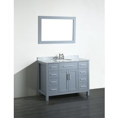 "43"" SB252-7GRCM Single Vanity w/ White Carrara Top-Gray"