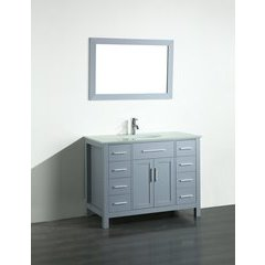 43'' SB252-7GRBG Single Vanity w/ Tempered Glass Top-Gray
