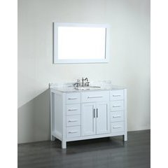 43'' SB252-7WHCM Single Vanity w/ White Carrara Top-White