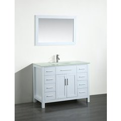 43'' SB252-7WHEWG Single Vanity w/ Tempered Glass Top-White