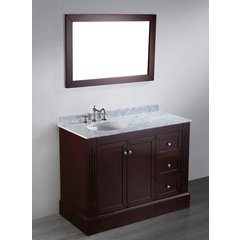 45'' SB255 Single Vanity w/ White Carrara Top-Dark Espresso