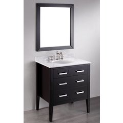 31'' SB-260 Single Vanity w/ White Carrara Top-Black