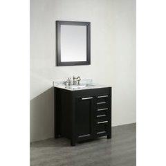 30'' SB267-1BCM Single Vanity w/ White Carrara Top-Black