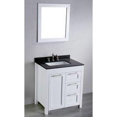 30'' SB267-1 Single Vanity w/ Black Granite Top-White