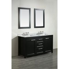 60'' SB267BCM Double Vanity w/ White Carrara Top-Black