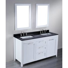 60'' SB267 Double Vanity w/ Black Granite Top-White