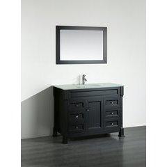 "43"" SB278 Single Vanity w/ Tempered Glass Top-Black"