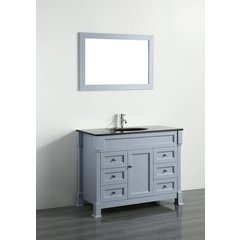 "43"" SB278 Single Vanity w/ Tempered Glass Top-Gray"