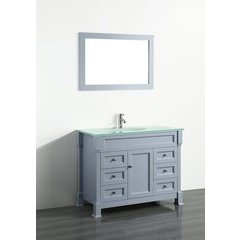 "43"" SB278 Single Vanity w/ Tempered Glass Top-Gray"