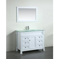 "43"" SB278 Single Vanity w/ Tempered Glass Top-White"