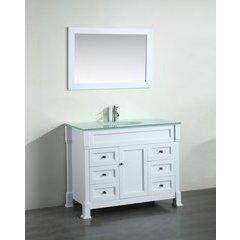 "43"" SB278 Single Vanity w/ Tempered Glass Top-White"