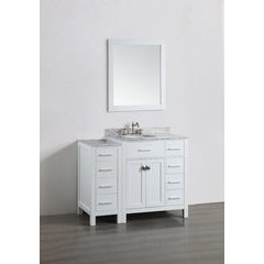 "43"" SBL2104WH1S Single Vanity w/ White Carrara Top-White"