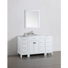 "56"" SBL2104WH2S Single Vanity w/ White Carrara Top-White"