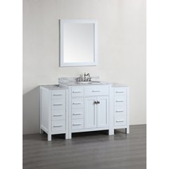 "56"" SBR2104WH2S Single Vanity w/ White Carrara Top-White"