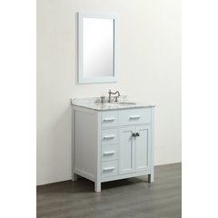 "30"" SBR2104WH Single Vanity w/ White Carrara Top-White"