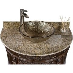 37 Inch Semi-Circle Single Sink Bathroom Vanity with Fawn Oceana Vessel Sink - Espresso