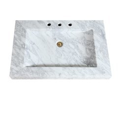 33 Inch Stone Integrated Sink Top - Carrera White Marble