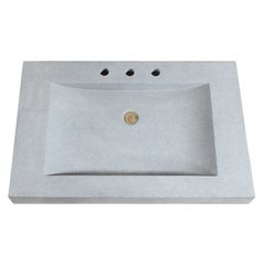 33 Inch Stone Integrated Sink Top - Dark Gray Granite